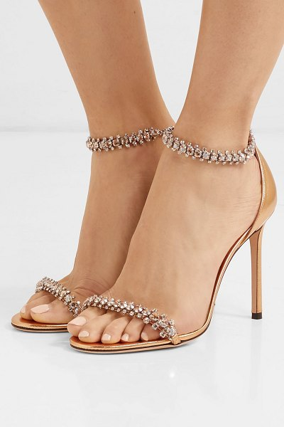 Jimmy Choo shilo 100 crystal-embellished metallic leather sandals in gold