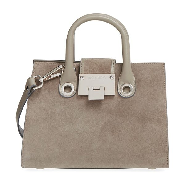 Jimmy Choo Small riley suede crossbody bag in light khaki -