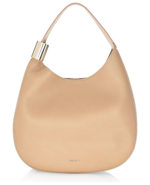 Jimmy Choo stevie leather hobo bag in nude - Classic leather hobo bag with metallic wide ring detail....
