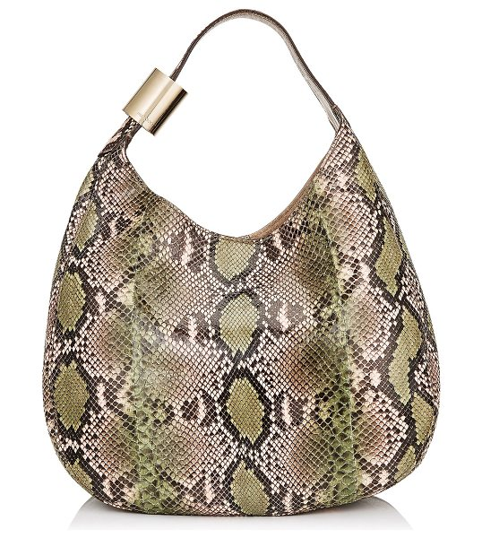 Jimmy Choo STEVIE Lime and Rosewater Dégradé Painted Python Shoulder Bag in rosewater/lime - The Stevie slouchy shoulder bag in lime and rosewater...