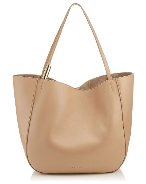 Jimmy Choo STEVIE TOTE Nude Nappa Leather Tote Bag in nude - The Stevie slouchy tote bag in nude nappa leather is a...