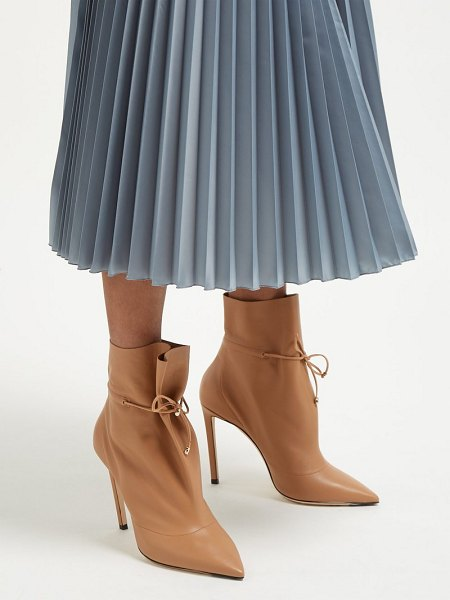 Jimmy Choo stitch 100 drawstring leather ankle boots in tan