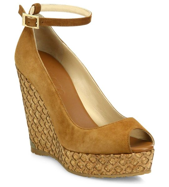 Jimmy Choo pacific 120 suede ankle-strap cork wedge peep toe sandals in brown - Netted cork wedge lifts suede ankle-strap sandal. Cork...