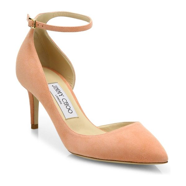 JIMMY CHOO lucy 65 suede d'orsay ankle-strap pumps in tearose - EXCLUSIVELY AT SAKS FIFTH AVENUE. Alluring suede d'Orsay...