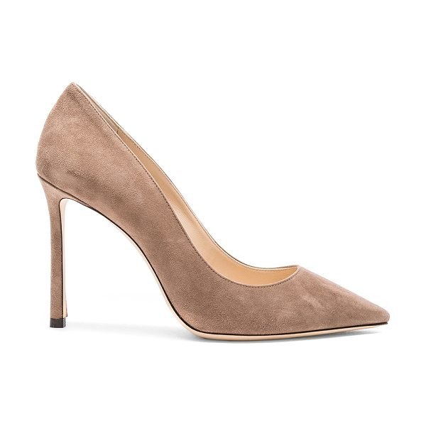 Jimmy Choo Suede Romy Heels in neutrals - Suede upper with leather sole.  Made in Italy.  Approx...
