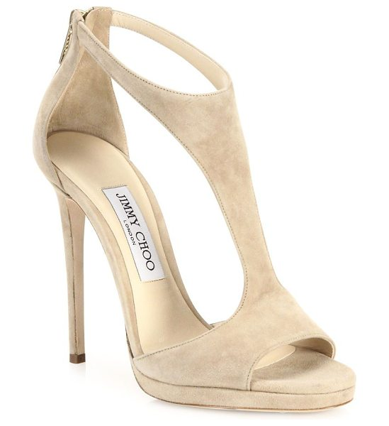 Jimmy Choo lana suede t-strap sandals in beige - EXCLUSIVELY AT SAKS FIFTH AVENUE. Rich suede elevates...