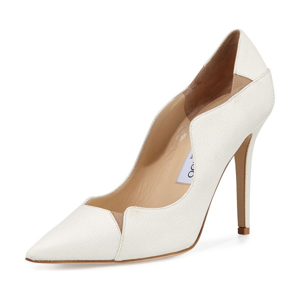 Jimmy Choo Tamika 100mm Jagged Pump in latte/nude - Jimmy Choo textured suede pump with contrast suede...