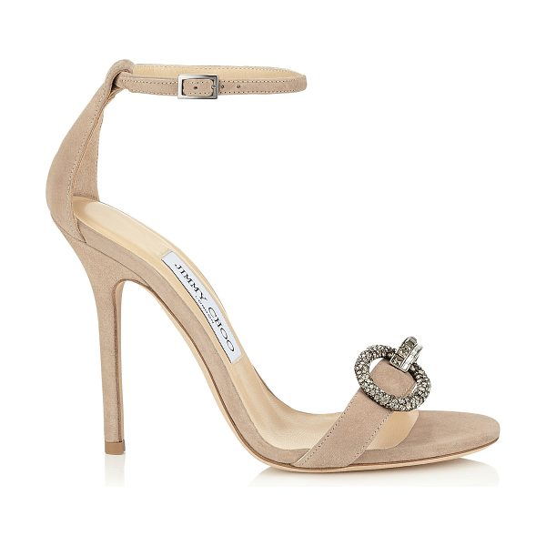 Jimmy Choo Tamsyn 110 nude suede sandals with crystal piece in nude - A timeless evening sandal, perfect for the red carpet....