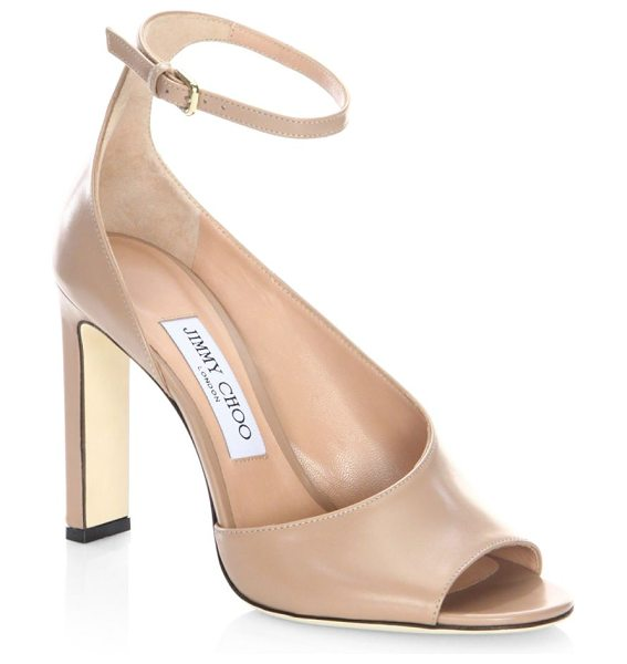 Jimmy Choo theresa leather ankle-strap sandals in ballet pink - Sleek sandal in asymmetrical smooth leather detail....