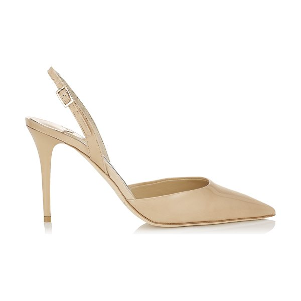 Jimmy Choo Tilly nude patent leather sling back pumps in nude - These nude patent leather sling back pumps are a...