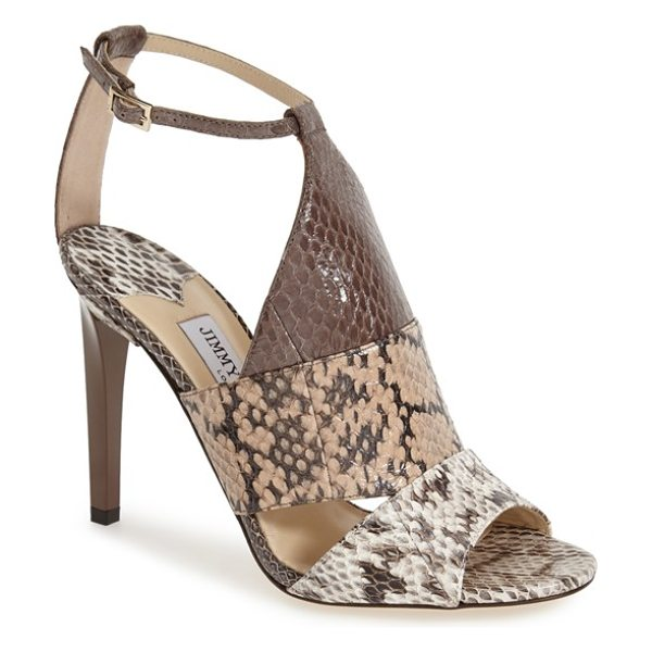 Jimmy Choo timbus ankle strap sandal in neutral mix - A slender ankle strap adds a delicate touch to this bold...