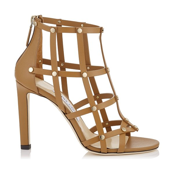 Jimmy Choo TINA 100 Cuoio Calf Leather Sandals with Light Gold Studs in cuoio/light gold - A stunning yet easy to wear sandal, Tina in cuoio calf...