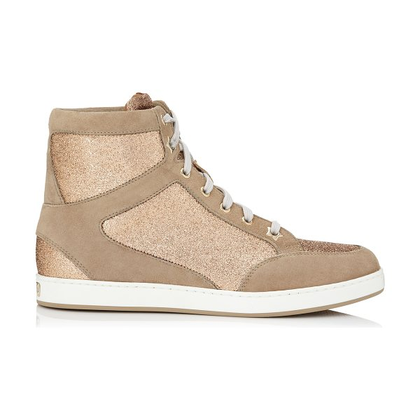 JIMMY CHOO TOKYO Nude Suede and Glitter Sneakers - Nude is perennially chic, so for a sophisticated take on...