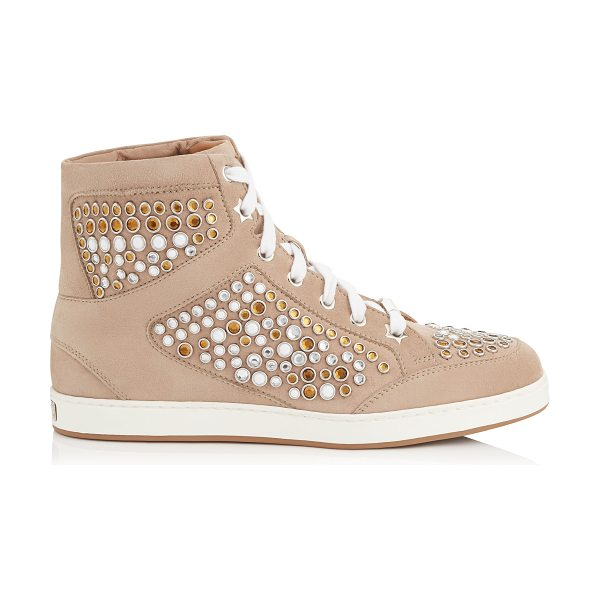 Jimmy Choo Tokyo nude suede high top trainers with metal studs in nude mix - A popular high top lace up trainer, perfect for the...