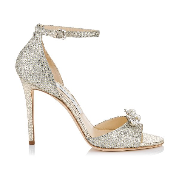 Jimmy Choo TORI 100 Champagne Glitter Fabric Sandals with Jewelled Clip in champagne - Classic and elegant, Tori will bring grace and...
