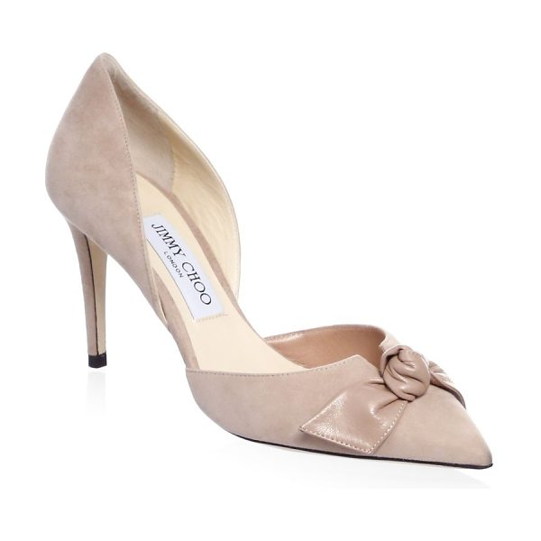 Jimmy Choo twinkle suede d'orsay pumps in ballet - Bow-detailedpump in a classic style. Stiletto heel,...