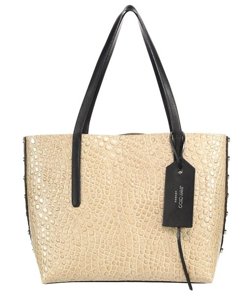 Jimmy Choo twist east/west croc-embossed & leather tote in lightmocha - Studded croc-embossed tote with grainy leather side....