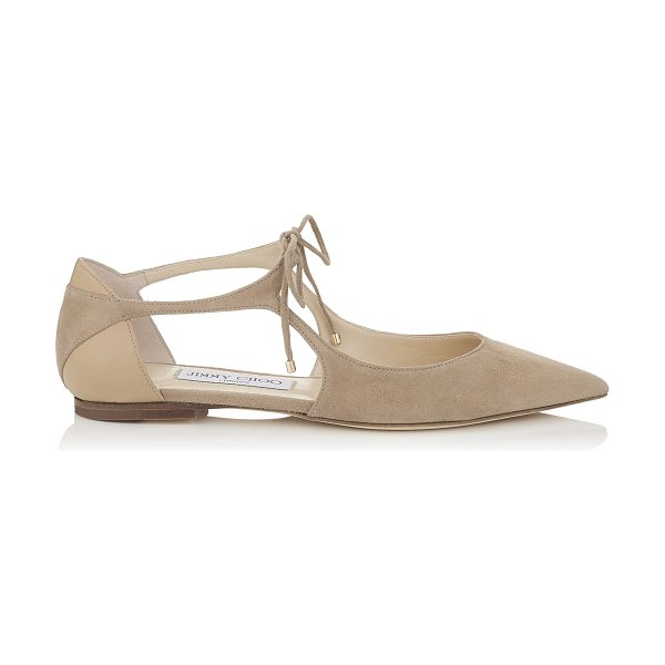 Jimmy Choo VANESSA FLAT Nude Suede and Nappa Pointy Toe Flats in nude/nude - Vanessa is a classic pointy toe pump with a modern,...