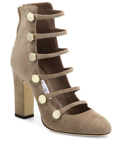 Jimmy Choo venice 100 strappy suede block heel booties in mocha - Suede block-heel bootie with military-inspired straps....