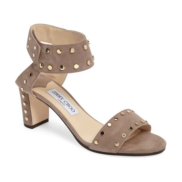 Jimmy Choo jimmy choo 'veto' studded sandal in light mocha/ gold - Polished studs highlight the clean, modern lines of an...