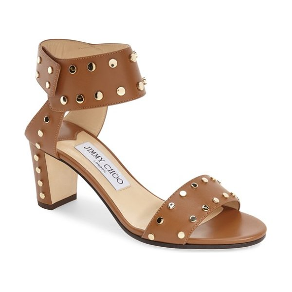 Jimmy Choo jimmy choo 'veto' studded sandal in navy/ gold - Polished studs highlight the clean, modern lines of an...