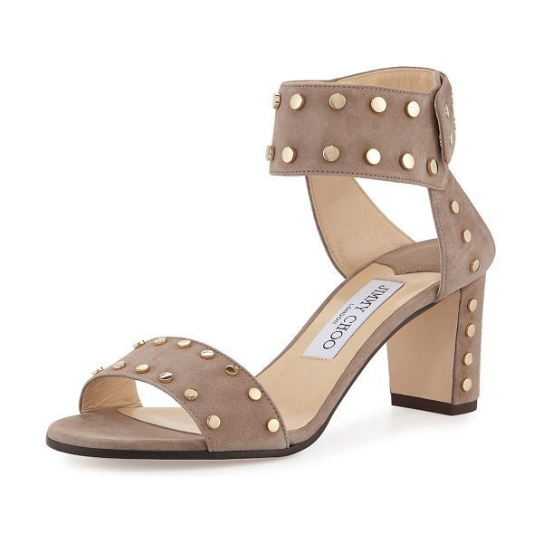 "Jimmy Choo Veto Studded Suede 100mm Sandal in brown - Jimmy Choo studded suede sandal. 2.5"" covered block..."