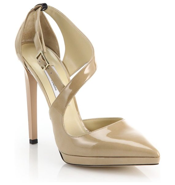 JIMMY CHOO Vinse asymmetrical patent leather pumps - Jimmy Choo re-envisions these sophisticated ankle-strap...
