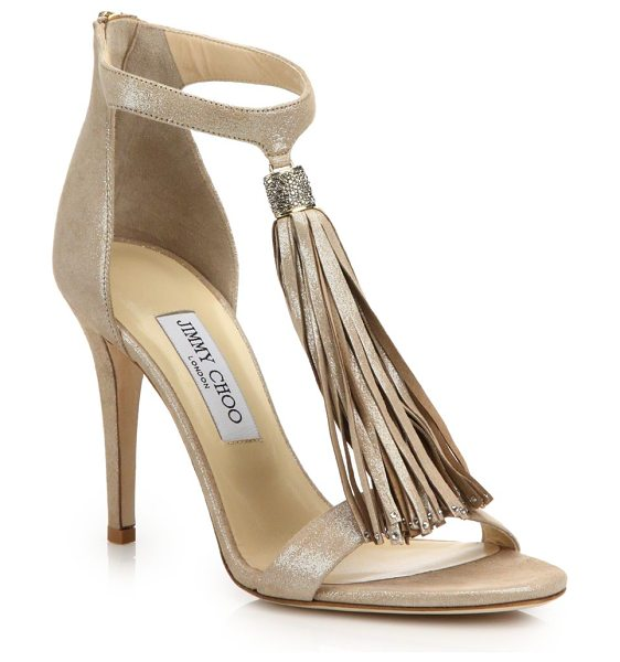 Jimmy Choo viola 100 shimmer suede tassel sandals in beige - Shimmering design with embellished tassel detail....