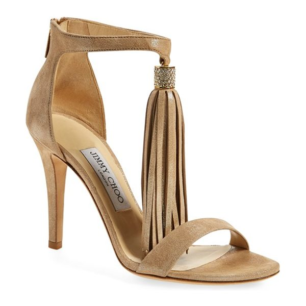 JIMMY CHOO 'viola' ankle strap sandal - A long tassel swishes and sways from the ankle strap of...