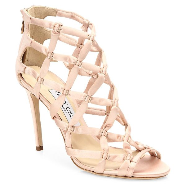 Jimmy Choo violet suede lattice sandals in dusty rose - Sultry lattice-cut suede sandal with satin accents....