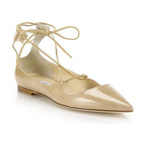 Jimmy Choo Vita patent leather lace-up flats in beige - Slim ties wrap patent leather point-toe flatsPatent...