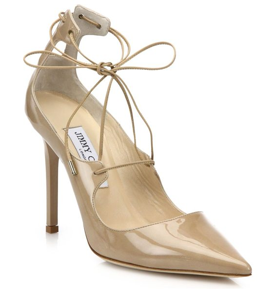 Jimmy Choo Vita patent leather lace-up pumps in nude - Slim ties wrap patent leather point-toe...