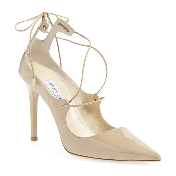 Jimmy Choo vita pointy toe pump in nude patent - Tonal lace-up ties further the simple elegance of a...