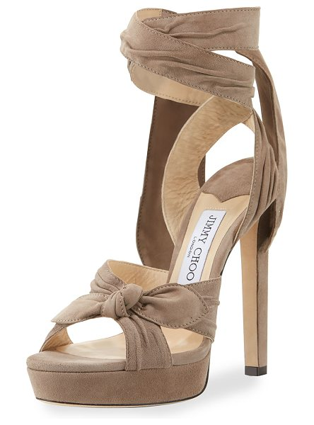 "JIMMY CHOO Vixen Suede Ankle-Wrap 130mm Sandal in light mocha - Jimmy Choo pleated suede sandal. 5.1"" covered heel; 1""..."