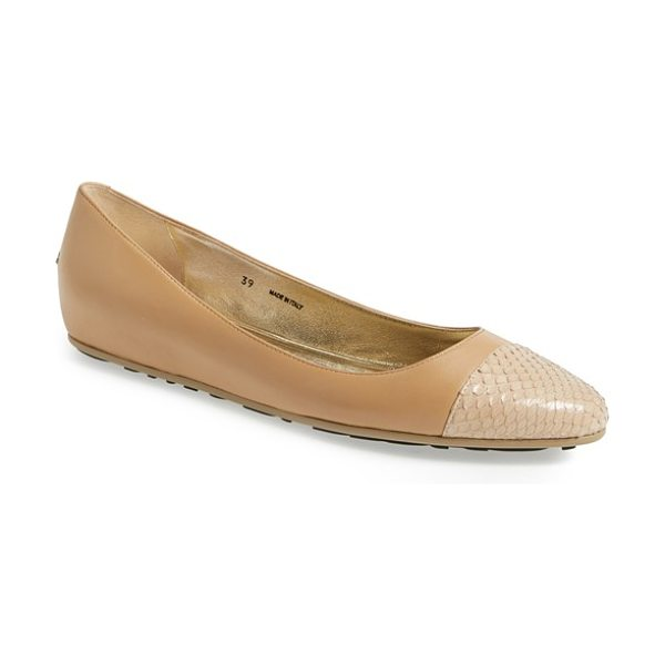 Jimmy Choo waine cap toe ballerina flat in nude - A textured cap toe lends a hint of exotic edge to a...