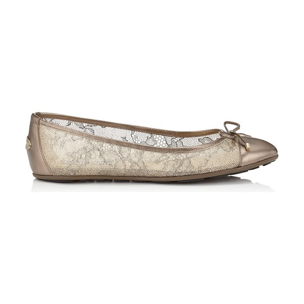 JIMMY CHOO Waltz light honey metallic lace and metallic nappa ballet flats - A classic ballet flat will add a chic touch to any...