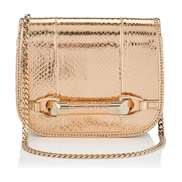 Jimmy Choo Zadie nude metallic elaphe cross body bag in nude - A neat little compartmentalised pochette, with Jimmy...