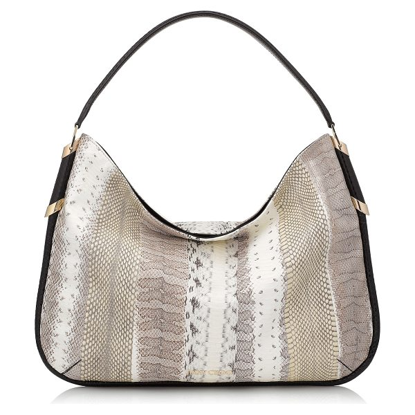 Jimmy Choo Zoe natural striped exotic mix shoulder bag in natural - Zoe is a spacious and practical hobo bag with easy...
