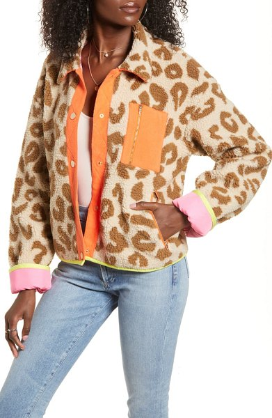 J.O.A. button front faux fur jacket in brown