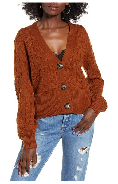 J.O.A. cable knit cardigan in brown