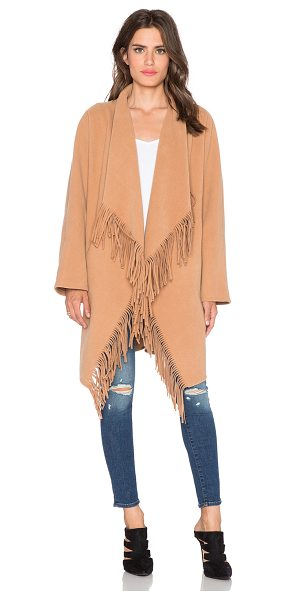J.O.A. Cascade fringe coat in tan - Self: 90% poly 10% viscoseContrast: 100% poly. Dry clean...