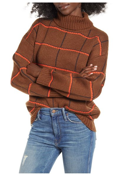 J.O.A. checked turtleneck sweater in brown