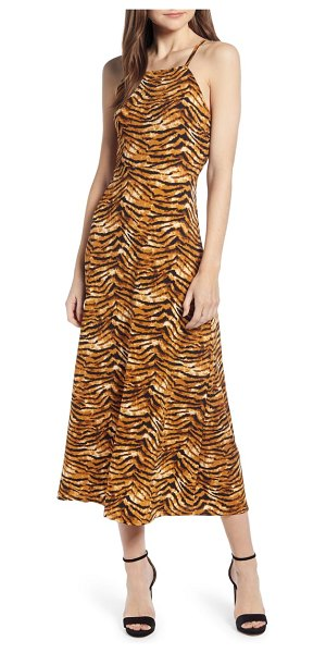 J.O.A. cheetah print lace-up back midi dress in brown - Set land-speed records for collecting compliments in...
