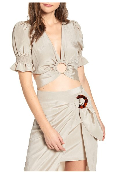 J.O.A. circle detail crop top in beige
