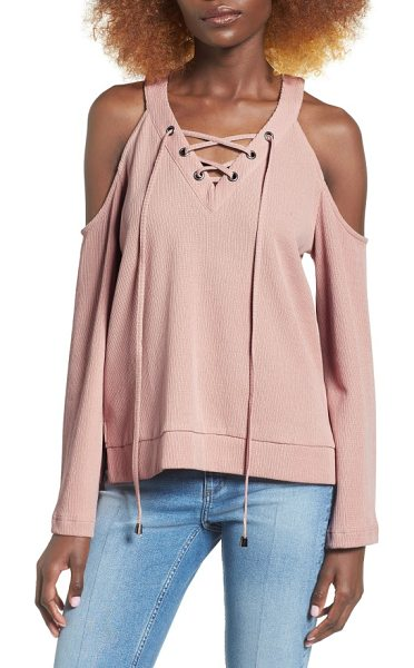J.O.A. cold shoulder cotton top in blush - The perfect mix of comfy and glam, a rib-knit cotton top...