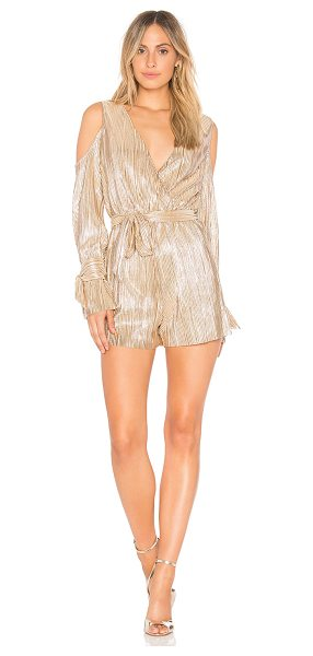 "J.O.A. Cold Shoulder Romper - ""Self & Lining: 100% poly. Dry clean only. Surplice..."