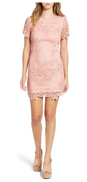 J.O.A. crochet lace sheath dress in blush - Ladylike crochet lace is perfectly pretty in a...