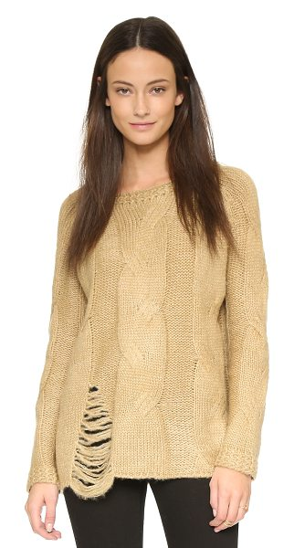 J.O.A. Distressed cable sweater in khaki - A boxy J.O.A. sweater with oversized cables and a...