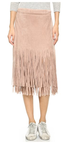 J.O.A. Fringe skirt in mauve - Long fringe lends a flirty feel to this soft microsuede...