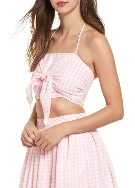 J.O.A. gingham halter crop top in pink/ white - Sweeten any sunny day in this picnic-pattern halter crop...